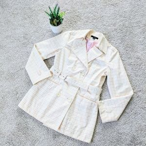 Express Plaid Pink Trench Coat